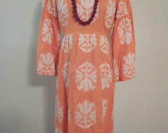 Vintage Orange White Linen Dress Mad Men Jackie Style size 12