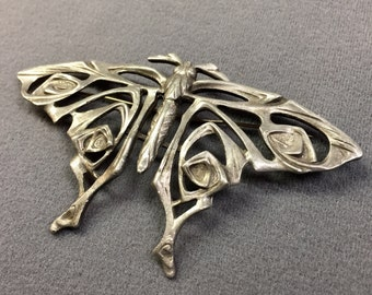 Big Vintage Art Nouveau Pewter Moth Butterfly Sash Brooch.  Free shipping