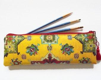 Waterproof pouch, turkish, kilim, persian, brush case, make-up brush bag, crochet hook storage and pencil case