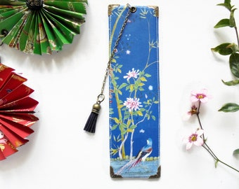 Luxury waterproof Bookmark, page marker, Blue chinoiserie, literary gift, book lover gift.