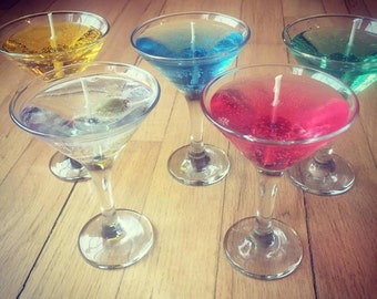 Long Lasting Scented Variety of Gel Candles in Mini Martini Glass, perfect for the dinner table or as fun gifts.