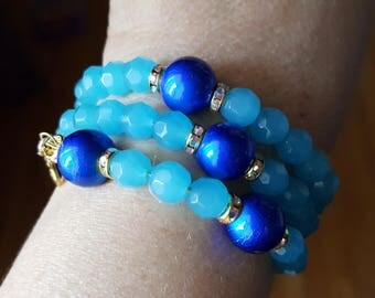 Blue rosary bracelet with vintage  Our Lady of Grace charm attached