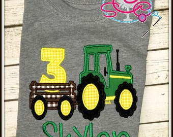 Personalized Tractor Themed Birthday Shirt/Bodysuit