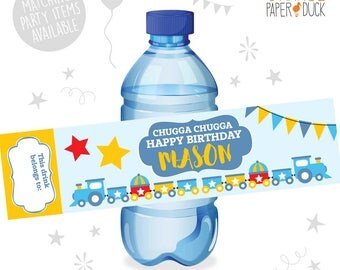 10 X Personalised TRAIN Choo Choo Birthday Party Water Bottle Label Stickers