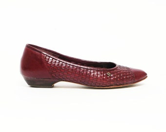 Etienne Aigner vintage 80s oxblood woven braided leather slip-on shoes 8N