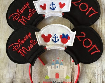 Mickey and Minnie Mouse Ears Personalized with Sailor Hat Photo Prop. Inspired by Mickey Mouse and Disney Cruises.