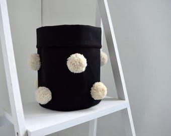 medium size storage basket/ fabric storage basket with pompom decoration/ black and white home decor/ nursery decor/ scandinavian design