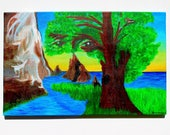 """Original Einstein Landscape Acrylic Painting - Inspired by his quote """"Look deep into nature, and then you'll understand everything better."""""""