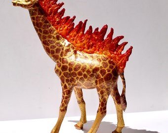 Original Hand-painted Gold Giraffe On Fire Statuette - Inspired by Salvador Dalí's Flaming Giraffes