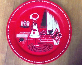 Large metal serving tray, Wall decor, Red, Kitchen decor,platter