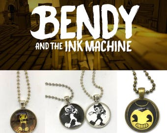 Bendy and the Ink Machine - Bendy - Video Game - Handmade - Cabochon Pendant Necklace -Keychain