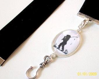 Black Velvet Ribbon Bookmark w/Fisherman