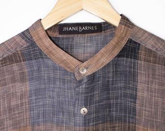 JHANE BARNES linen shirt - vintage 90s - mandarin collar - patchwork pattern - mens large