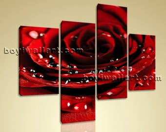 Large Floral Canvas Art Rose Flower Print Contemporary Living Room Four Panels, Large Rose Flower Wall Art, Living Room, Venetian Red
