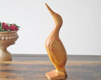 Vintage Hand Carved Wood Bird Wooden Bird Figurine Swedish Scandinavian Collectible Library Decor @206-3