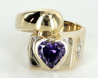 Amethyst Heart Ring Diamond Vintage 14 Karat Yellow Gold Estate Fine Jewelry Heirloom