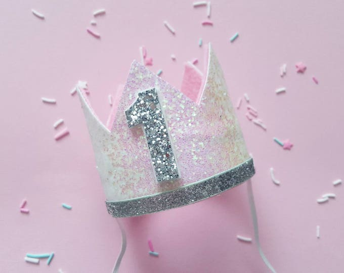 Glittery Birthday Crown | Birthday Crown | 1st Birthday Crown | Girl Birthday Crown | Baby Birthday | Pink and Silver | Ready to Ship