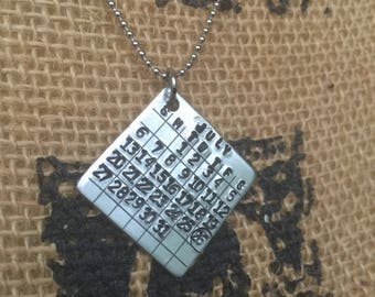 Hand stamped calendar Anniversary necklace-special date-