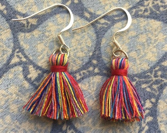 Tassel Earrings-Red Multi Colored