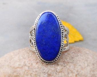 Lapis Ring Blue Lapis Lazuli Ring Gemstone Ring Blue Stone Ring Sterling silver Ring Handcrafted Lapis Ring size 9.5 - Birthstone rings