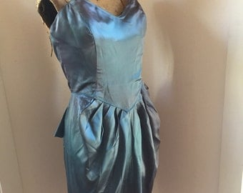 Vintage Peplum Iridescent Teal/Purple Tulip Prom Dress with Bustier