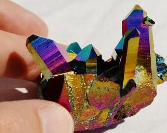 "6393xx Rainbow FLAME AURA Quartz Titanium Crystal Healing Cluster 57gm xxxlarge 54mm FREE Usa Shipping!!  2.1"""
