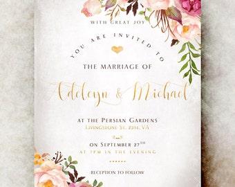 Floral Wedding Invitation printable - elegant wedding invitation, pink wedding invitation, romantic wedding invitation