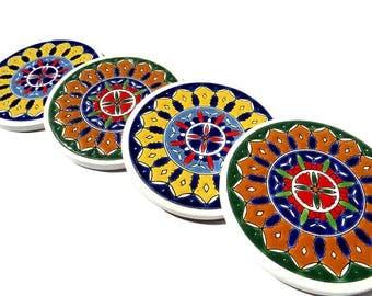 Ceramic Coaster, Drink tile Coaster, Mandala Ceramic Coaster, Floral Ceramic Decor, Mediterranean Ceramic, Greek Ceramic, Decorative Tiles