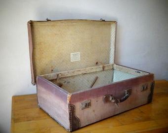 Large Antique Suitcase, Old Luggage, Train Case, Valise, Luggage Decor, Antique Luggage, Suitcase Table, Travel Trunk, Luggage Bag, Trunk