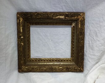 1800s Victorian Picture Frame, Pressed Metal Ornamentation, Great Art Salvage