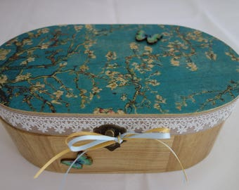 Blossom design decopage, applique and lace oval wooden box, suitable for jewellery, keepsakes, and treasured items.