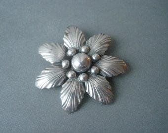 Large mid century solid silver brooch by Hermann Siersbol, Denmark.