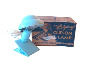 Clip On Lamp Baby Blue in Original Box - Baby Nursery - By Poly S Products - Night Light - Nursery Nightlight - Nursery Decor