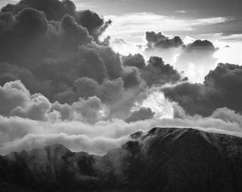 Haleakala Sunrise, Maui Hawaii, Black & White, Sunrise Photograph, Landscape Print, Volcano Photo, Clouds, Crater, Pacific Ocean, Island
