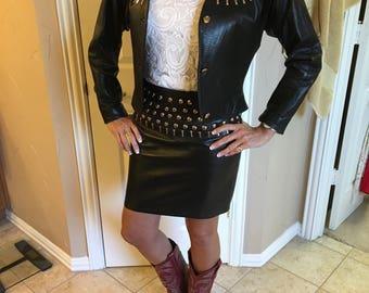Studded Leather Jacket & Skirt by FIRENZA of Santa Barbara Size 6