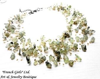 Raw Prehnite Multistrand Floating Boho Necklace Statement Green Raw Gemstone Glass Seed Beads Air Crochet Necklace Genuine Bohemian Jewelry