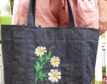 Shopping bag with daisies (free shipping inside Australia)