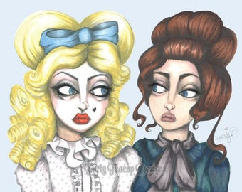 Baby Jane & Blanche by Dirty Teacup Designs Whatever Happened to Baby Jane Bette Davis and Joan Crawford Art Print