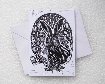 Card Lino Print / Hare A6