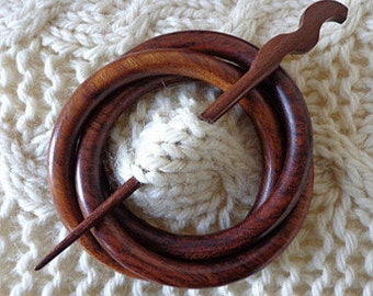 SHAWL PIN, wooden, beautiful, Indian Rosewood (dark) or Papdee wood (light ) , with a turned stick