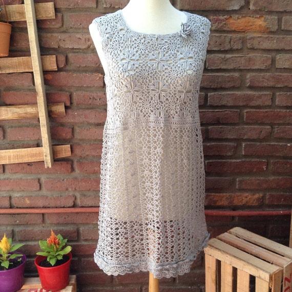 Lace crochet dress,  gray crocheted dress, boho dress, woman crochet dresses, lace dress, summer dress, crochet beach cover, beach dress
