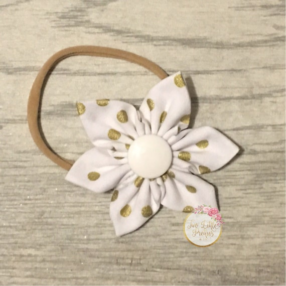 White with medium gold polka dots fabric flower headband | baby girl | hand sewn