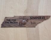 Semper Fi Wooden Sign, Te...
