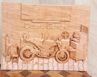Vintage Motorcycle Art ~ Ducati Monster Motorcycle ~ Classic Motorcycle  9x12 Inch ~ Wood Anniversary Gift ~ Wood Wall Art  ~ Vintage Decor