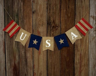 Burlap Banner USA - Patriotic Burlap Banner, July 4th Banner, Photo Prop, Rustic Burlap Banner, Independence Day, Red White & Blue