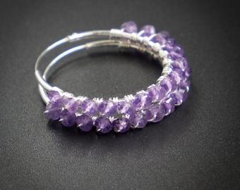 Amethyst hoop earrings amethyst and sterling silver endless hoop earrings purple sterling hoop earring handmade amethyst jewelry purple hoop