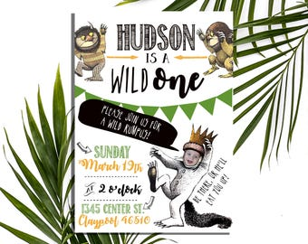 Wild One/Where the Wild Things Are Party Invitation, Let the Wild Rumpus Start, Digital Download