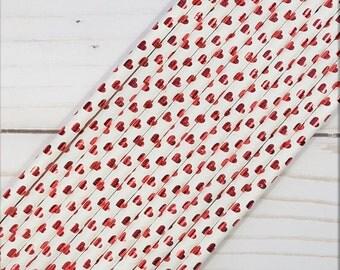 Red Heart Paper Straws, Foil Heart Paper Straws, Red Foil Heart Straws, Mason Jar Straws, Drinking Straws, Cake Pop Sticks, Set of 12