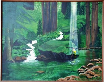 Art Fairy Painting Green forest painting River painting Home Decor