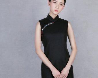 Modern Qipao Dress Wool Blend W/ Handmade Embroidery Small Stand Collar